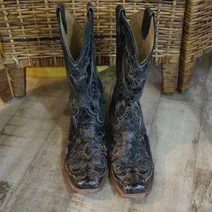 Corral Boots Black Square Toe Size 10M Snakeskin